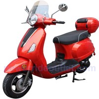PRO LX50 50cc 4 Stroke Vespa style Gas Scooter with wind shield, Aluminum Wheels, LED Lights, Fully Assembled Package (Free Rear Trunk)