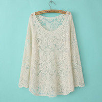 Cashews Floral Lace Mesh See Through Long-Sleeve Shirt