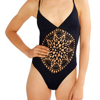 One Piece Cut-Out Halter Bodycon Swimsuit
