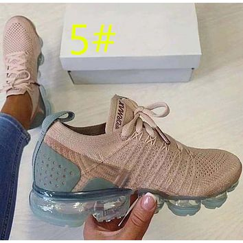 Solid air cushioned, high rise, fly woven women's shoes, front lace up, breathable running women's shoes