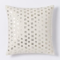 Sequined Grid Pillow Cover - Muslin
