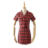 Women Casual Summer Vintage Style Plaid Pattern Buttoned Two-piece Outfit