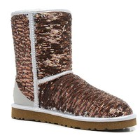 LFMON UGG 1003353 Flipped Over Sparkles Women Men Fashion Casual Wool Winter Snow Boots Bronze