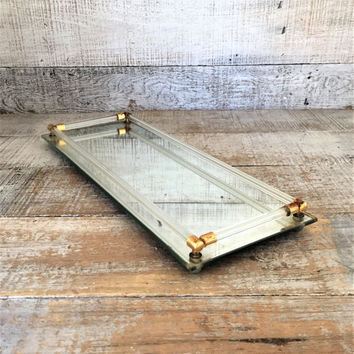Vanity Mirror Tray Vintage Mirror Rectangle Dresser Tray Art Deco Mirrored Tray Rectangular Glass Tray Glass Rod and Brass Mirrored Tray