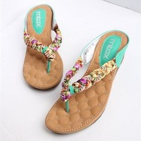 MagicPieces Heeled Flip Flops with Rhinestone Detail F0606