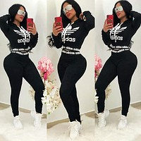 Adidas New fashion letter leaf print hooded long sleeve sweater and pants two piece suit Black