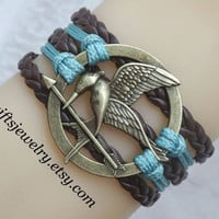Hunger inspired games jewelry,catching fire jewelry,Mockingjay pin bracelet,hipster jewelry,charm,couple jewelry,brown and green