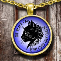 My Black Cat Is My Good Luck Charm Golden Plated Necklace