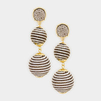 Gold & Silver Round Druzy Stone Drop Double Thread Ball Earrings