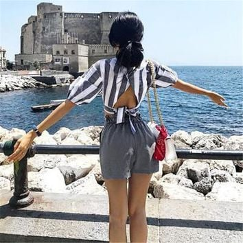 2017 Trending Fashion Women Stripes Printed Sexy Backless Erotic T-Shirt Top _ 13452