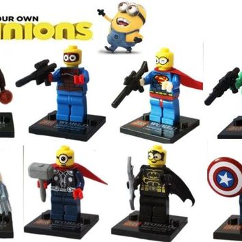 Minions Dress up Super hero kids corner productions 8 style design minions batman Building Blocks Sets Kids toy Bricks gifts