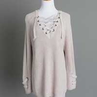 Lindsey Blush Lace Up Sweater