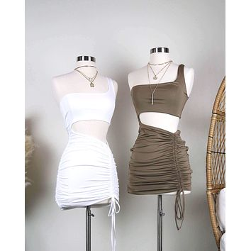 Seamless One Shoulder Ruched Mini Dress in More Colors