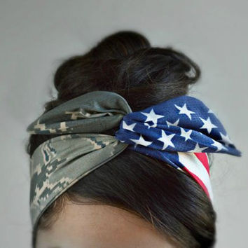 American Air Force flag headband, Tiger stripeCamo Patriotic Dolly bow, American Flag head band,