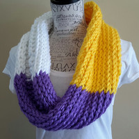 Vikings scarf. Inspired colors. Knit cowl. Made by Bead Gs on ETSY. Purple, gold and white scarf.