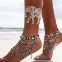 Sexy New Arrival Cute Jewelry Gift Shiny Ladies Stylish Vintage Heavy Work Chain Crystal Water Droplets Tassels Anklet [6049516545]