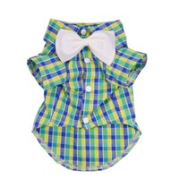 Gentle Western Plaid Dog Shirt for Dog Clothes Cozy Pet Shirt Dog Costumes + Dog Bow,M