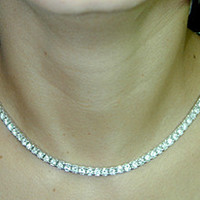 11.15ct Round Diamond Opera Necklace 18kt White Gold Birthday Bridal Gift JEWELFORME BLUE