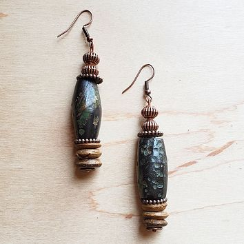 Barrel-Shaped Natural Turquoise and Wood Earrings