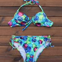 Women's World Peace Sign Printed Push up Bikini Swimsuits Two Pieces