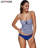 JOYMODE Two Pieces Women Swimsuit 2017 Underwire Push Up Straps Tankini Swimwear Striped Printed Sexy Bikini Set Bathing Suit