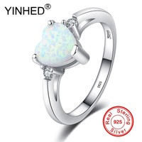 YINHED Fashion 925 Silver Zircon Ring White Fire Opal Rings For Woman Gifts Wedding Engagement Statement Ring Size 5-10 RA0188