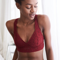 Aerie Lace Cross-Back Bralette, Burgundy Ivy