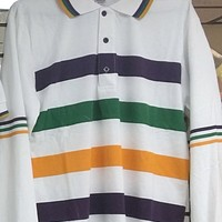 Mardi Gras Long Sleeve Polo Shirt (White)