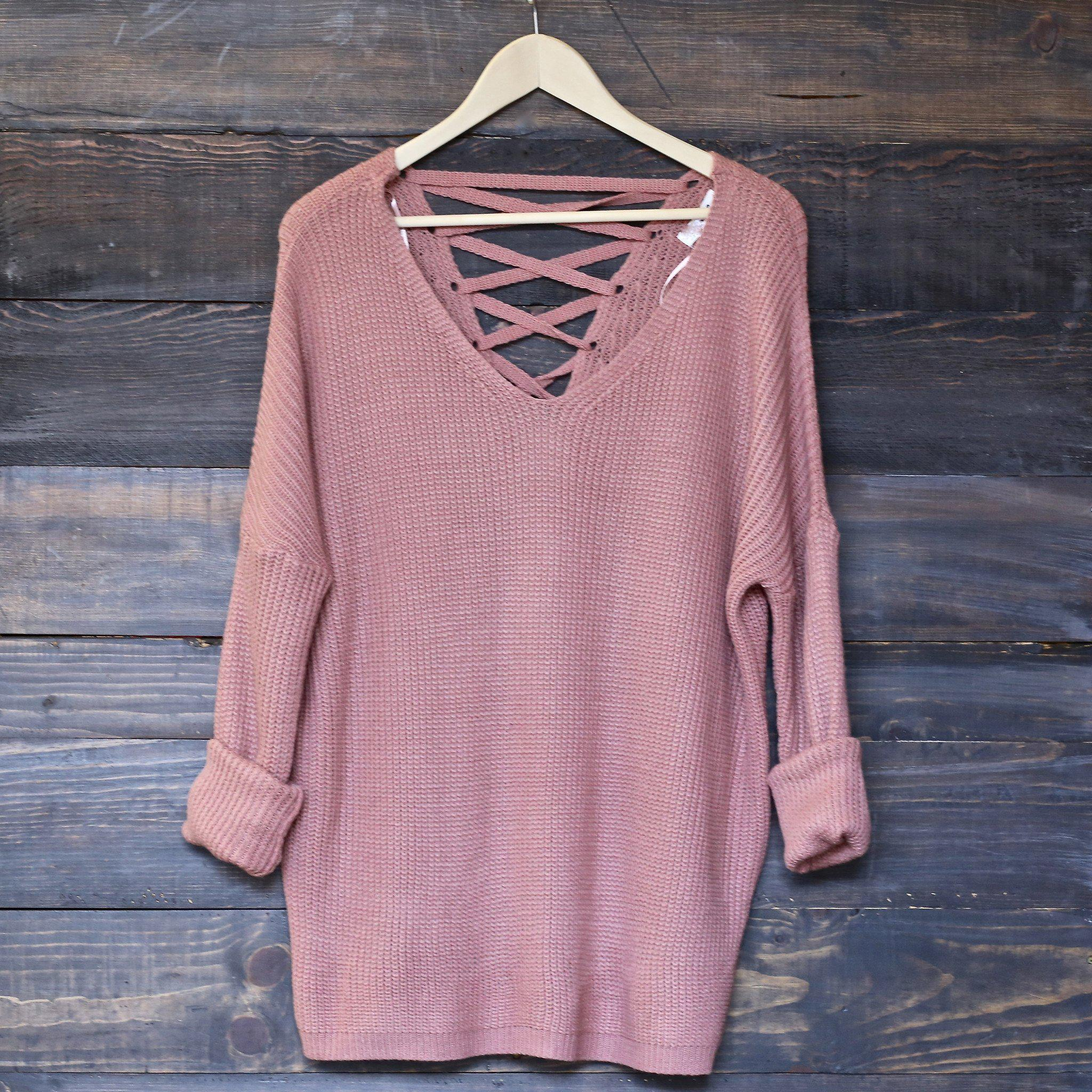 Image of oversize pullover laced back sweater - salmon