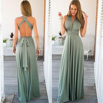 Sexy Long Dress Bridesmaid Wrap Convertible Boho Red Maxi Dress Bandage Prom Club Party Infinity Multiway Wrap Long Dress