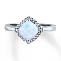Lab-Created Opal Ring Diamond Accents Sterling Silver