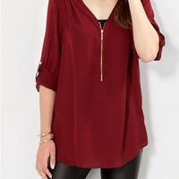 Burgundy Crepe Zipped Popover Top