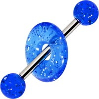 Blue Glitter Lifesaver Barbell Tongue Ring