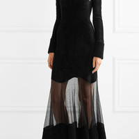 Alexander McQueen - Mesh-paneled fleece midi dress