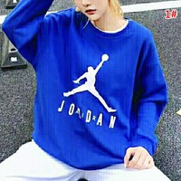 Jordan New fashion letter people print couple long sleeve top sweater 1#