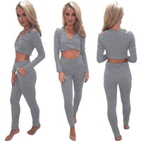 Ripped Crop Top and Pant Set