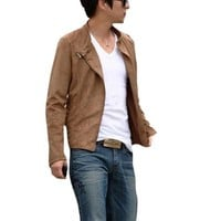 Men Long Sleeve Stand Collar Zippered Suede Jacket Camel S