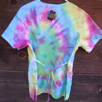 Tie Dyed Medical Smock Ladies Size Small