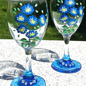 Hand Painted Wine Glasses With Blue Flowers And Crystal Wine Charms, Mothers Day Gift, Birthday Gift, Wedding Gift, Gifts For Her