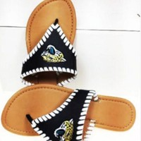 ONETOW NFL Jacksonville Jaguars Ladies Black Whip-Stitch Sandals