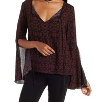 Burgundy Cmb Crochet-Trim Floral Bell Sleeve Top by Charlotte Russe