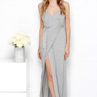 Utterly Amazing Ivory and Grey Striped Wrap Maxi Dress