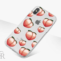 Peach Emoji Phone Case For iPhone 8 iPhone 8 Plus iPhone X Phone 7 Plus iPhone 6 iPhone 6S  iPhone SE Samsung S8 iPhone 5 Transparent