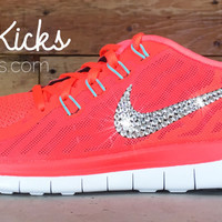 Women's Nike Free 5.0 Running Shoes By Glitter Kicks - Hand Customized With Swarovski Crystal Rhinestones - Hot Lava/Bright Crimson/Black