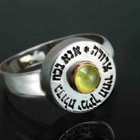 Men's Kabbalah Rings - Five Metal Catseye Kabbalah Ring