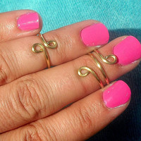 Above the Knuckle Rings Spiral  -  Above Knuckle Ring  - Set of 2 by Tiny Box