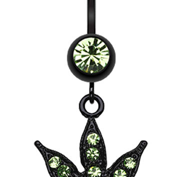 Blackline Cannabis Leaf Sparkle Belly Button Ring