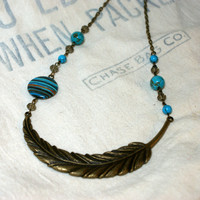 Southwestern Feather Necklace, Turquoise Cowgirl Jewelry, Western Feather Necklace, Antique Bronze Pendant Turquoise Accents