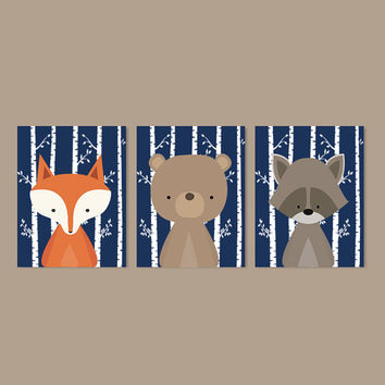 Boy Nursery Art, Woodland Nursery Art, Woodland Animals Nursery Decor, Woodland Baby Shower, Navy Nursery, Set Of 3 Prints Or Canvas