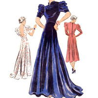 1930s Evening Gown Pattern, Vogue 7432, Backless Dress with Train & Draped Sleeves, Bias Cut, Vintage Sewing Pattern, Size 14 Bust 32